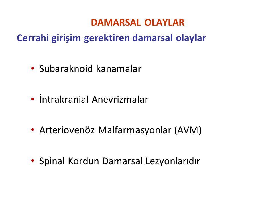DAMARSAL OLAYLAR Cerrahi girişim gerektiren damarsal olaylar Subaraknoid kanamalar İntrakranial Anevrizmalar Arteriovenöz Malfarmasyonlar (AVM) Spinal