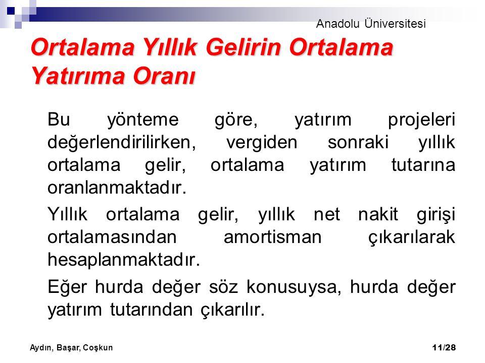 Anadolu Üniversitesi Aydın, Başar, Coşkun 11/28 Ortalama Yıllık Gelirin Ortalama Yatırıma Oranı Bu yönteme göre, yatırım projeleri değerlendirilirken,