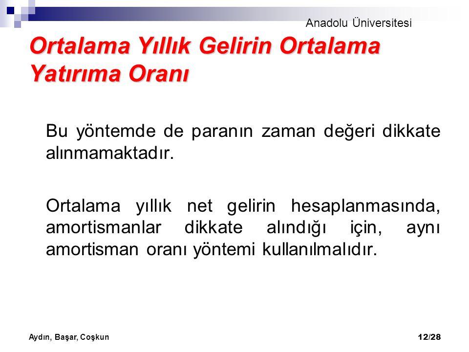 Anadolu Üniversitesi Aydın, Başar, Coşkun 12/28 Ortalama Yıllık Gelirin Ortalama Yatırıma Oranı Bu yöntemde de paranın zaman değeri dikkate alınmamakt