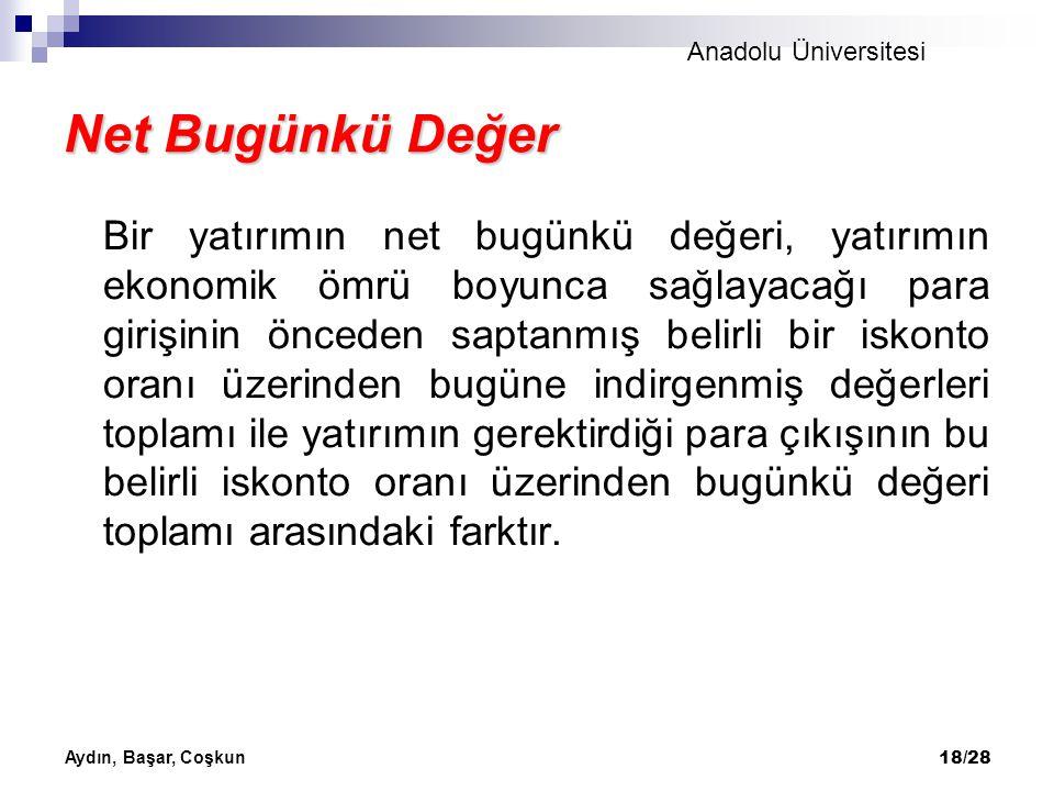 Anadolu Üniversitesi Aydın, Başar, Coşkun 18/28 Net Bugünkü Değer Bir yatırımın net bugünkü değeri, yatırımın ekonomik ömrü boyunca sağlayacağı para g