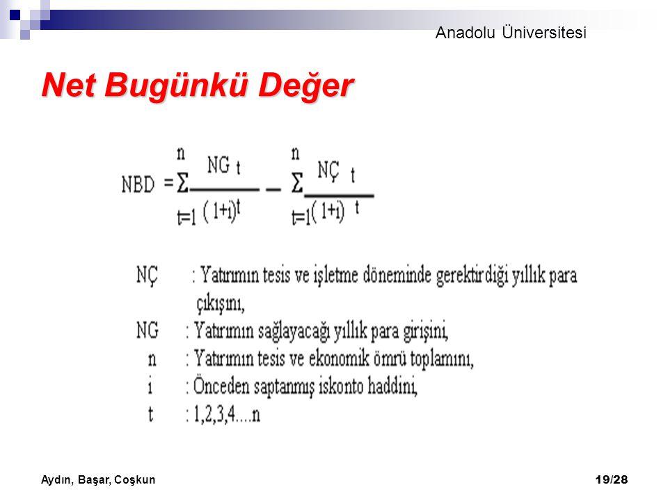 Anadolu Üniversitesi Aydın, Başar, Coşkun 19/28 Net Bugünkü Değer