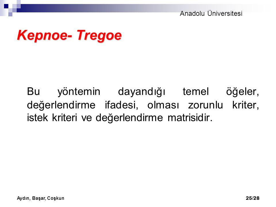 Anadolu Üniversitesi Aydın, Başar, Coşkun 25/28 Kepnoe- Tregoe Bu yöntemin dayandığı temel öğeler, değerlendirme ifadesi, olması zorunlu kriter, istek