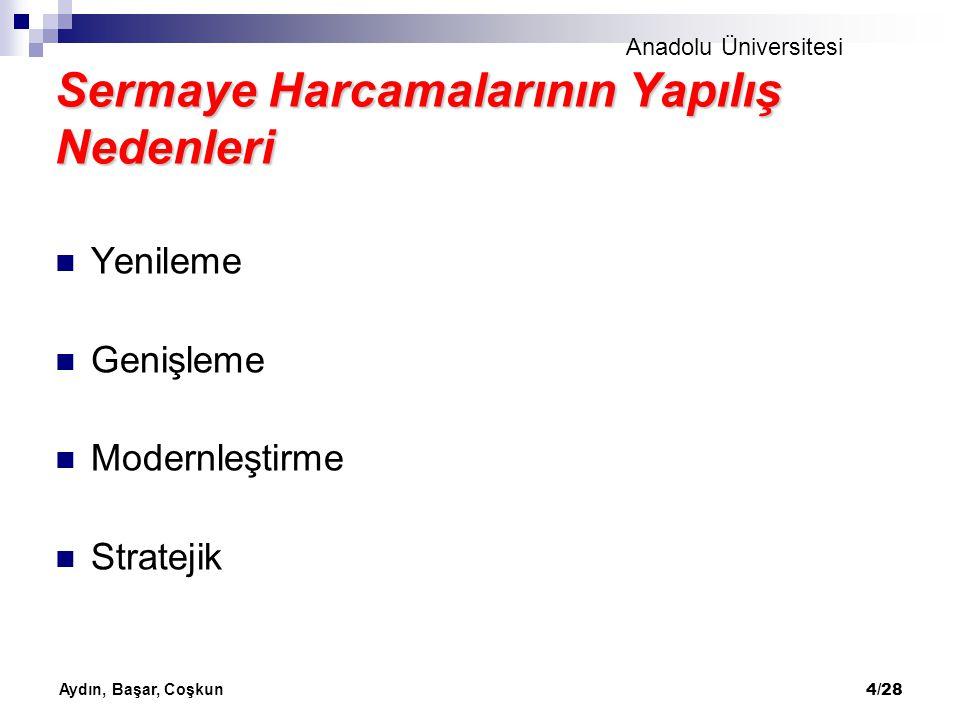 Anadolu Üniversitesi Aydın, Başar, Coşkun 4/28 Sermaye Harcamalarının Yapılış Nedenleri Yenileme Genişleme Modernleştirme Stratejik
