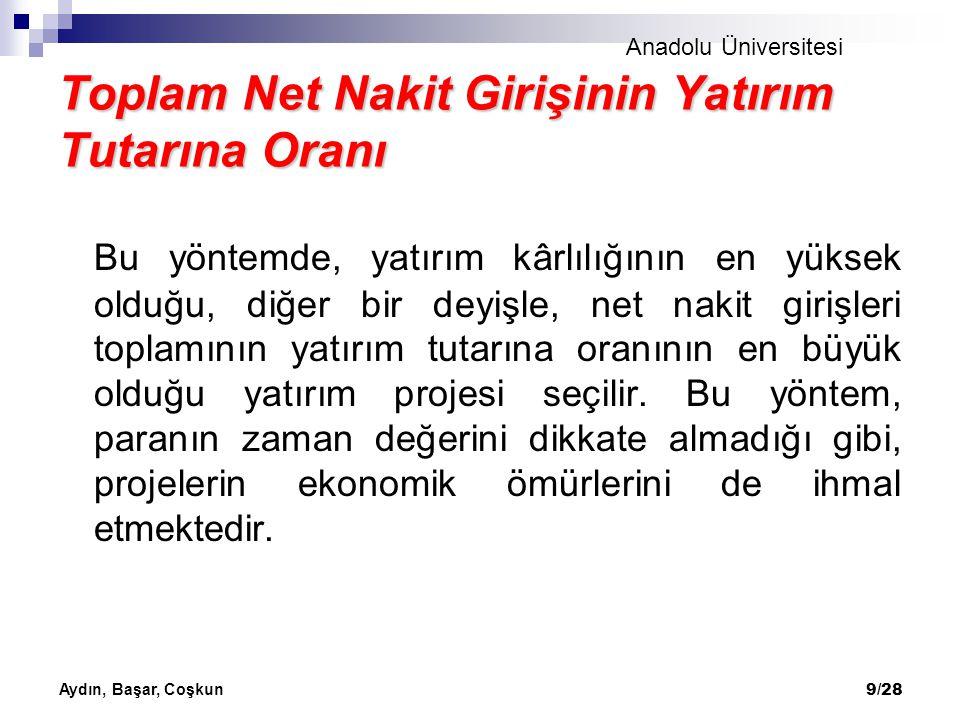Anadolu Üniversitesi Aydın, Başar, Coşkun 9/28 Toplam Net Nakit Girişinin Yatırım Tutarına Oranı Bu yöntemde, yatırım kârlılığının en yüksek olduğu, d