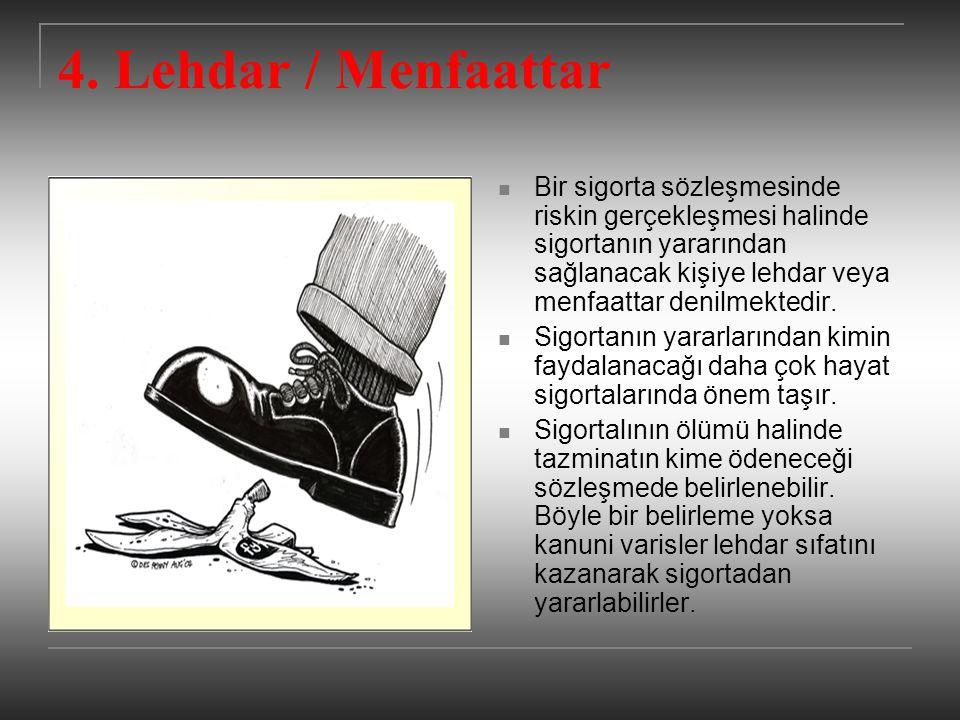 4. Lehdar / Menfaattar Bir sigorta sözleşmesinde riskin gerçekleşmesi halinde sigortanın yararından sağlanacak kişiye lehdar veya menfaattar denilmekt