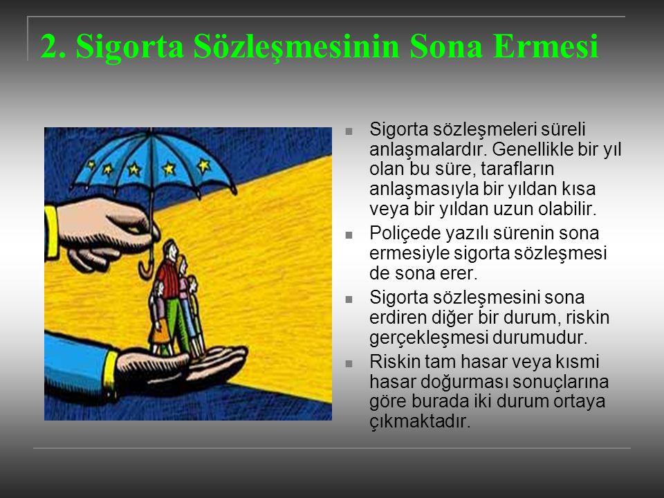 2. Sigorta Sözleşmesinin Sona Ermesi Sigorta sözleşmeleri süreli anlaşmalardır. Genellikle bir yıl olan bu süre, tarafların anlaşmasıyla bir yıldan kı