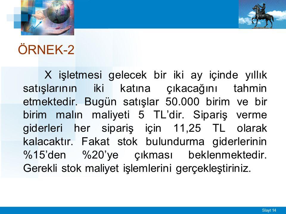 ÖRNEK-2 X işletmesi gelecek bir iki ay içinde yıllık satışlarının iki katına çıkacağını tahmin etmektedir. Bugün satışlar 50.000 birim ve bir birim ma