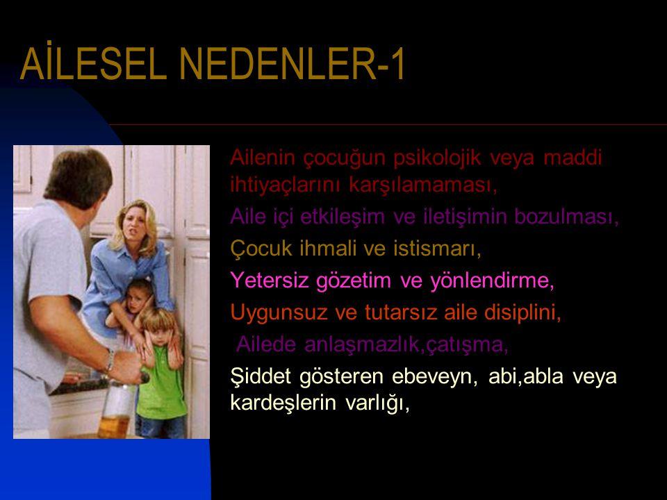 AİLESEL NEDENLER-1 Ailenin çocuğun psikolojik veya maddi ihtiyaçlarını karşılamaması, Aile içi etkileşim ve iletişimin bozulması, Çocuk ihmali ve isti