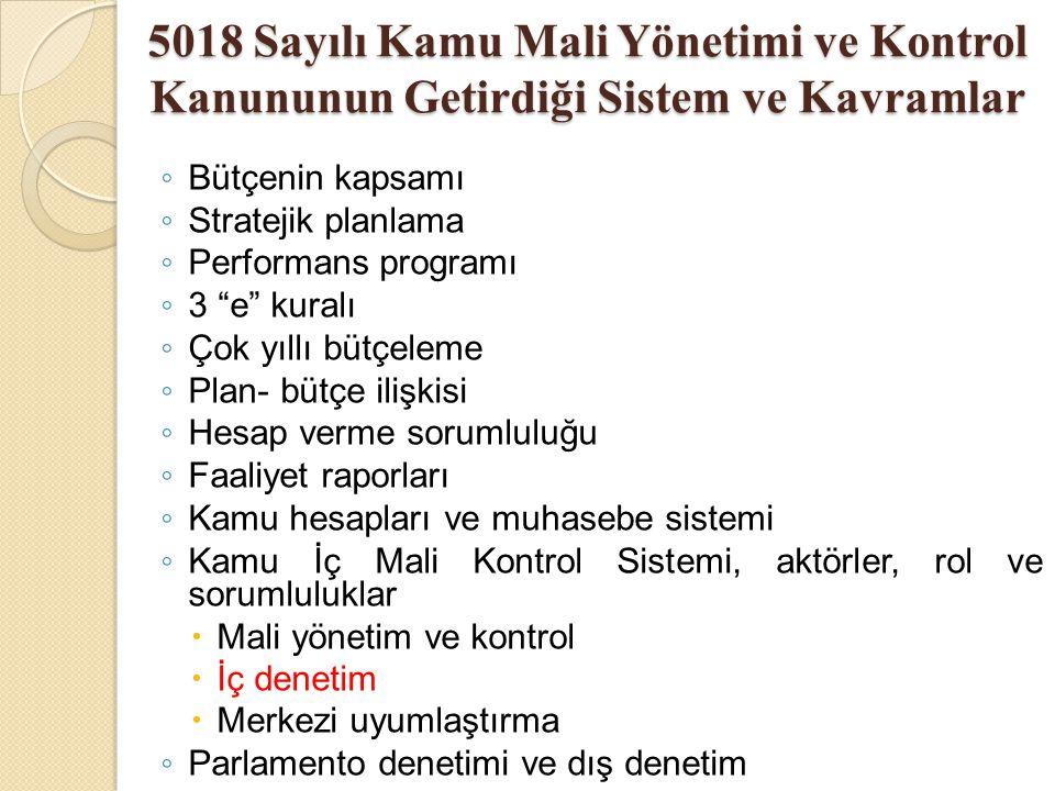 """5018 Sayılı Kamu Mali Yönetimi ve Kontrol Kanununun Getirdiği Sistem ve Kavramlar ◦ Bütçenin kapsamı ◦ Stratejik planlama ◦ Performans programı ◦ 3 """"e"""