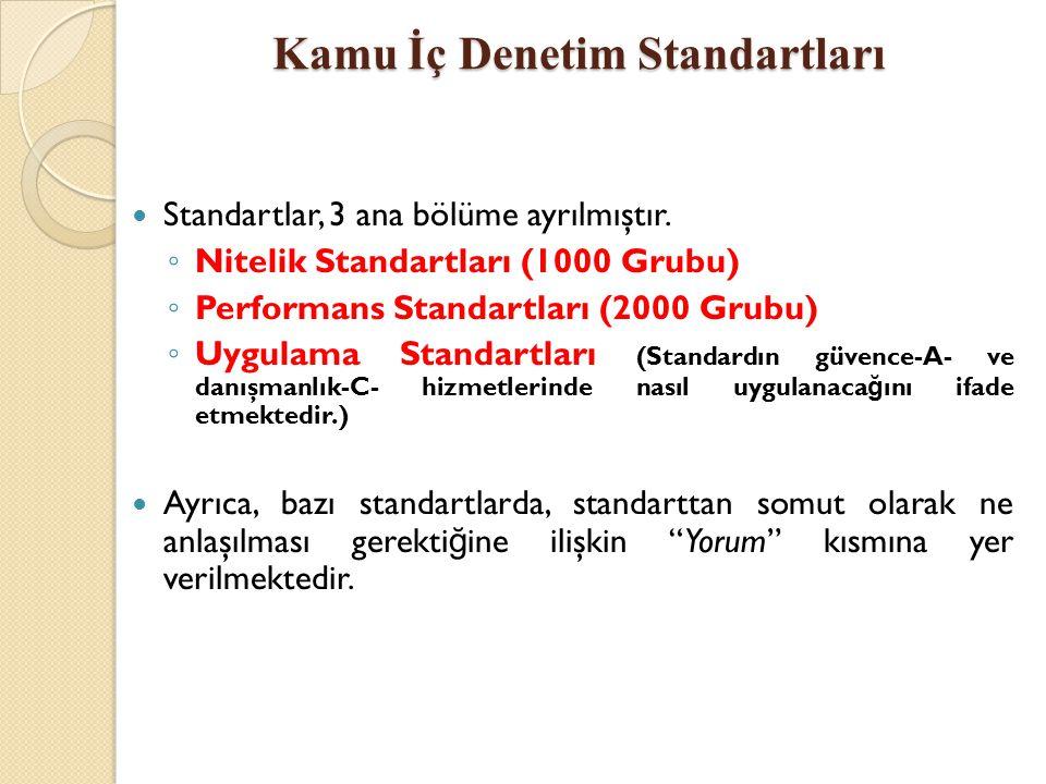 Kamu İç Denetim Standartları Standartlar, 3 ana bölüme ayrılmıştır. ◦ Nitelik Standartları (1000 Grubu) ◦ Performans Standartları (2000 Grubu) ◦ Uygul