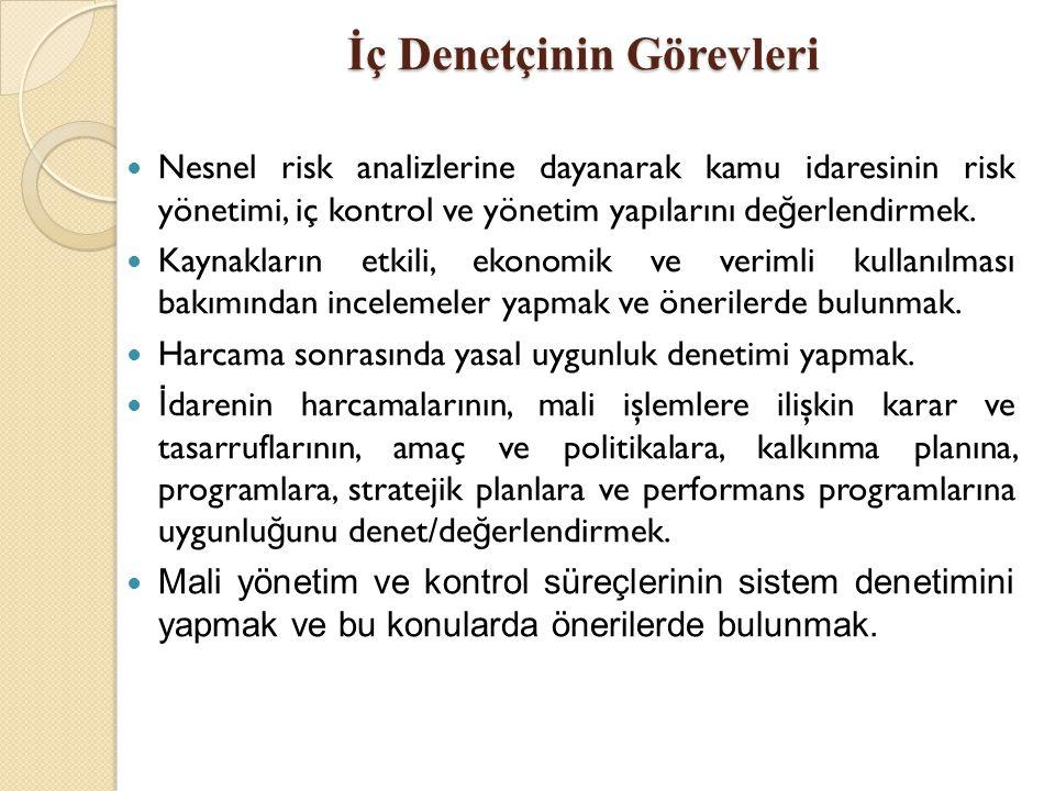 İç Denetçinin Görevleri Nesnel risk analizlerine dayanarak kamu idaresinin risk yönetimi, iç kontrol ve yönetim yapılarını de ğ erlendirmek. Kaynaklar