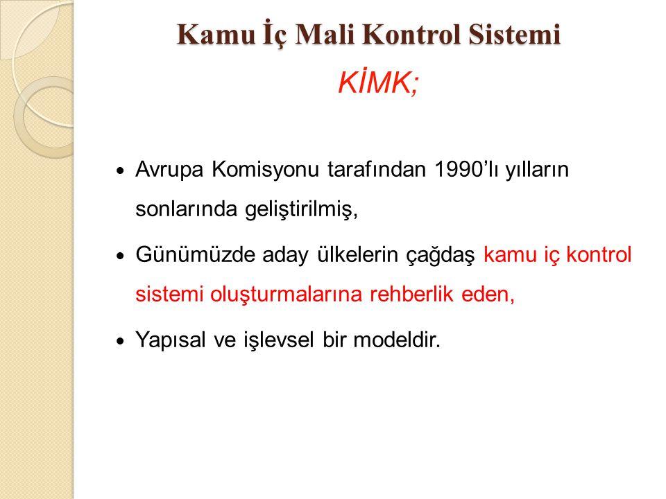 Avrupa Birliğinin Kamu İç Mali Kontrol Modeli K İ MK Yönetim sorumluluğuna dayalı Mali Yönetim ve Kontrol Fonksiyonel olarak bağımsız İç Denetim Merkezi Uyumlaştırma Birimleri (MUB) 1- Mali Yönetim ve Kontrol MUB 2- İç Denetim MUB