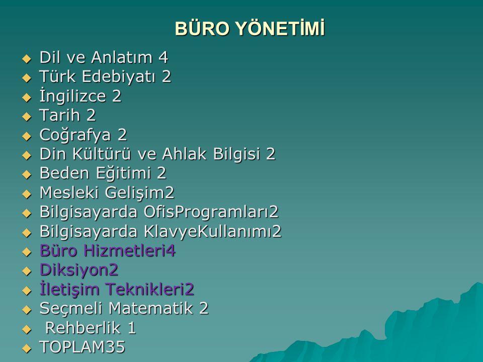 BÜRO YÖNETİMİ  Dil ve Anlatım 4  Türk Edebiyatı 2  İngilizce 2  Tarih 2  Coğrafya 2  Din Kültürü ve Ahlak Bilgisi 2  Beden Eğitimi 2  Mesleki