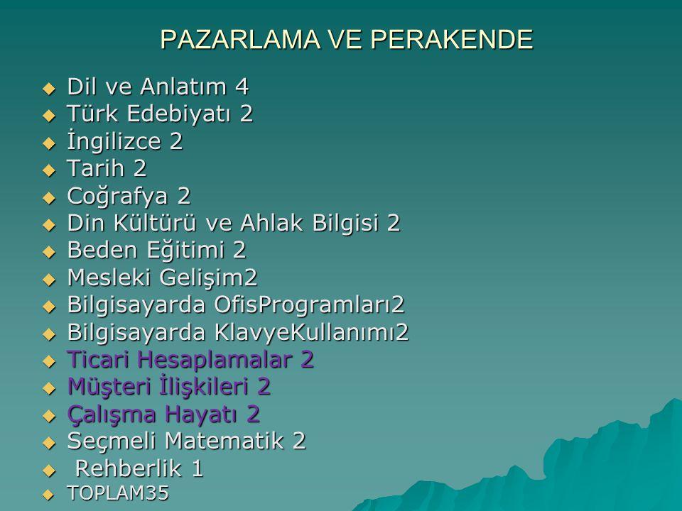 PAZARLAMA VE PERAKENDE  Dil ve Anlatım 4  Türk Edebiyatı 2  İngilizce 2  Tarih 2  Coğrafya 2  Din Kültürü ve Ahlak Bilgisi 2  Beden Eğitimi 2 