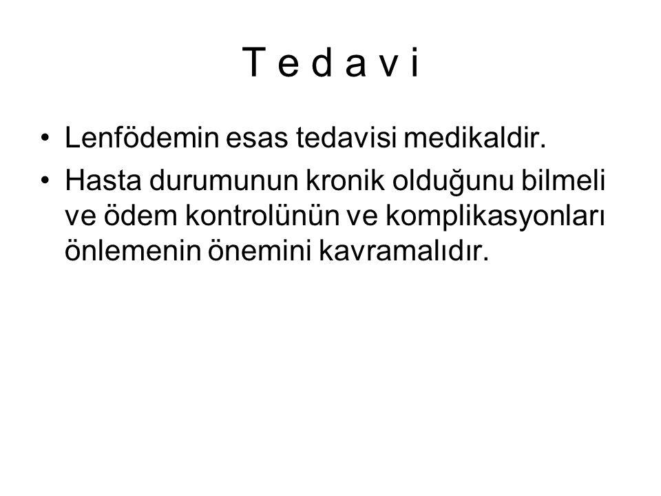T e d a v i Lenfödemin esas tedavisi medikaldir. Hasta durumunun kronik olduğunu bilmeli ve ödem kontrolünün ve komplikasyonları önlemenin önemini kav