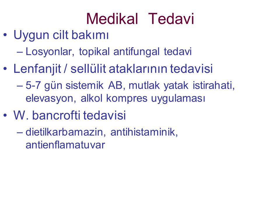 Medikal Tedavi Uygun cilt bakımı –Losyonlar, topikal antifungal tedavi Lenfanjit / sellülit ataklarının tedavisi –5-7 gün sistemik AB, mutlak yatak is