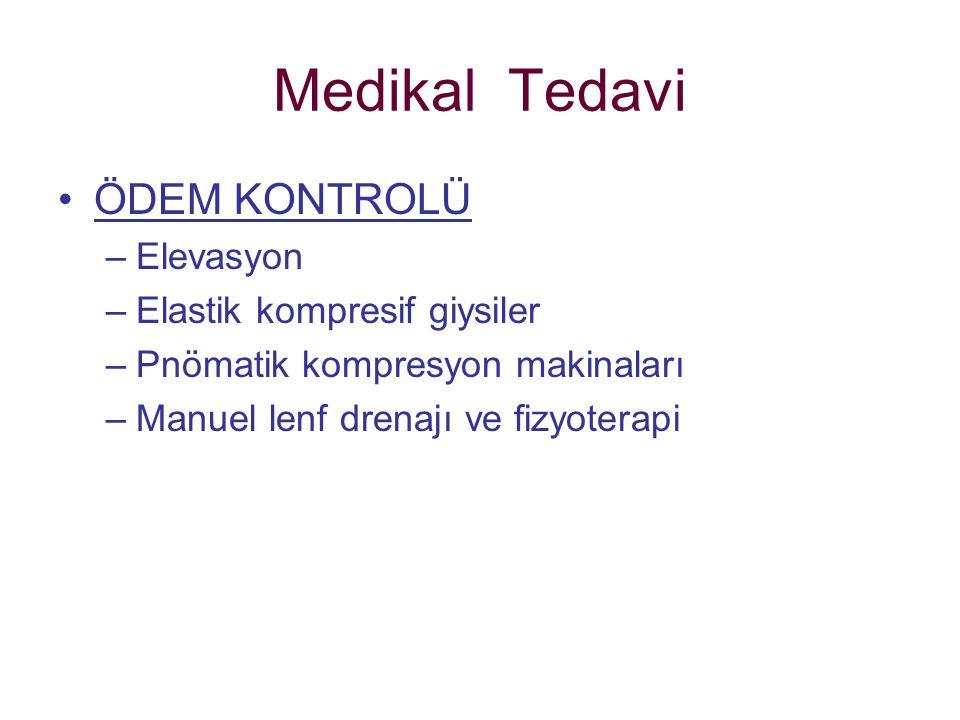Medikal Tedavi ÖDEM KONTROLÜ –Elevasyon –Elastik kompresif giysiler –Pnömatik kompresyon makinaları –Manuel lenf drenajı ve fizyoterapi
