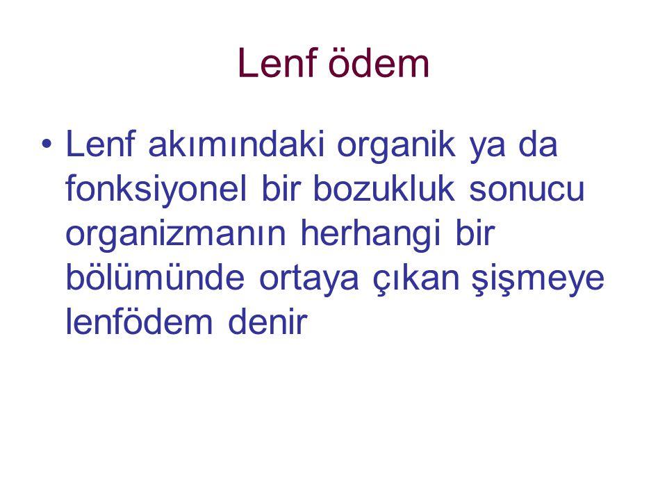 Lenf ödem Lenf akımındaki organik ya da fonksiyonel bir bozukluk sonucu organizmanın herhangi bir bölümünde ortaya çıkan şişmeye lenfödem denir
