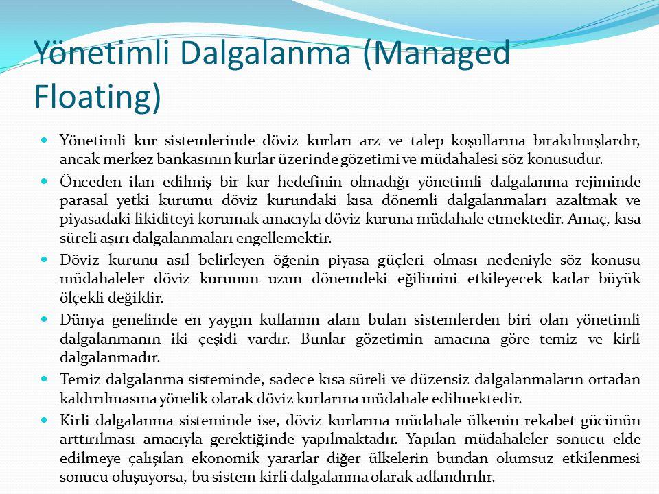 Yönetimli Dalgalanma (Managed Floating) Yönetimli kur sistemlerinde döviz kurları arz ve talep koşullarına bırakılmışlardır, ancak merkez bankasının k