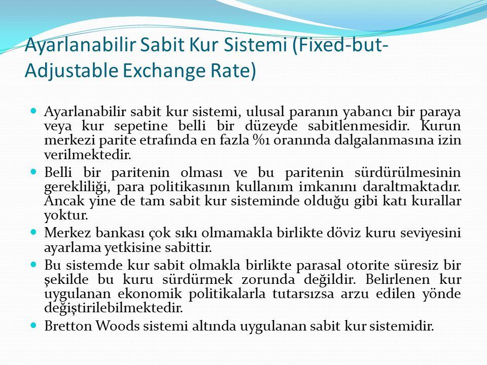 Ayarlanabilir Sabit Kur Sistemi (Fixed-but- Adjustable Exchange Rate) Ayarlanabilir sabit kur sistemi, ulusal paranın yabancı bir paraya veya kur sepe