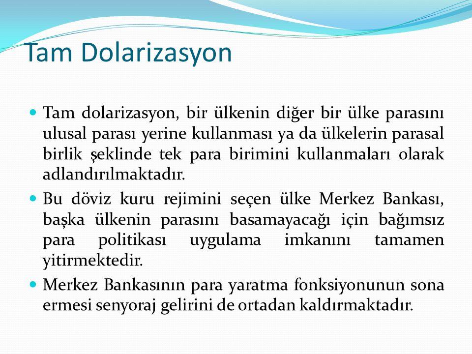 Tam Dolarizasyon Tam dolarizasyon, bir ülkenin diğer bir ülke parasını ulusal parası yerine kullanması ya da ülkelerin parasal birlik şeklinde tek par