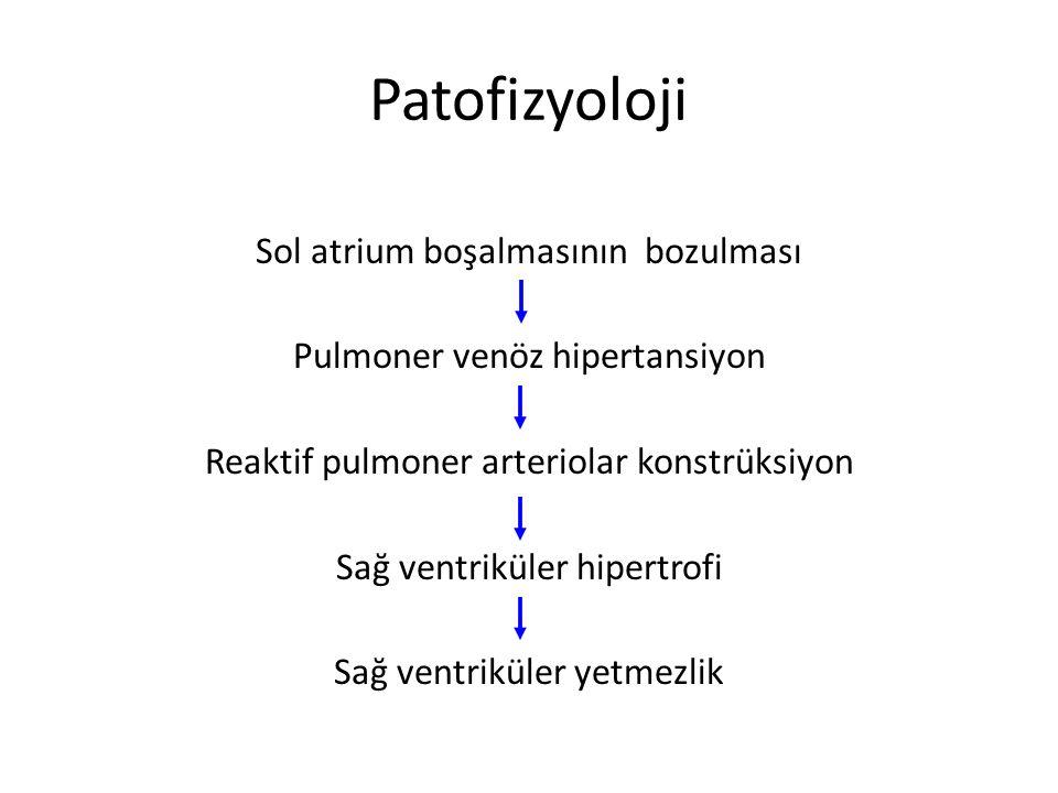 Patofizyoloji Sol atrium boşalmasının bozulması Pulmoner venöz hipertansiyon Reaktif pulmoner arteriolar konstrüksiyon Sağ ventriküler hipertrofi Sağ