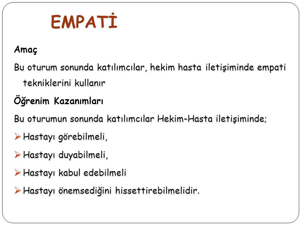 EMPATi  Empati, Kişinin;  Olaylara karşısındakinin bakış açısıyla bakabilmesi,  Karşısındaki kişinin duygularını ve düşüncelerini doğru olarak anlaması,  Anladığını karşısındaki kişiye ifade etmesidir.