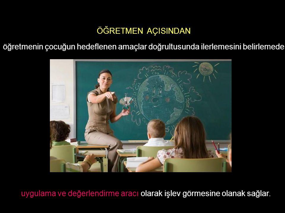 öğretmenin çocuğun hedeflenen amaçlar doğrultusunda ilerlemesini belirlemede ÖĞRETMEN AÇISINDAN uygulama ve değerlendirme aracı olarak işlev görmesine