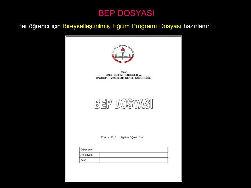 BEP DOSYASI Her öğrenci için Bireyselleştirilmiş Eğitim Programı Dosyası hazırlanır.