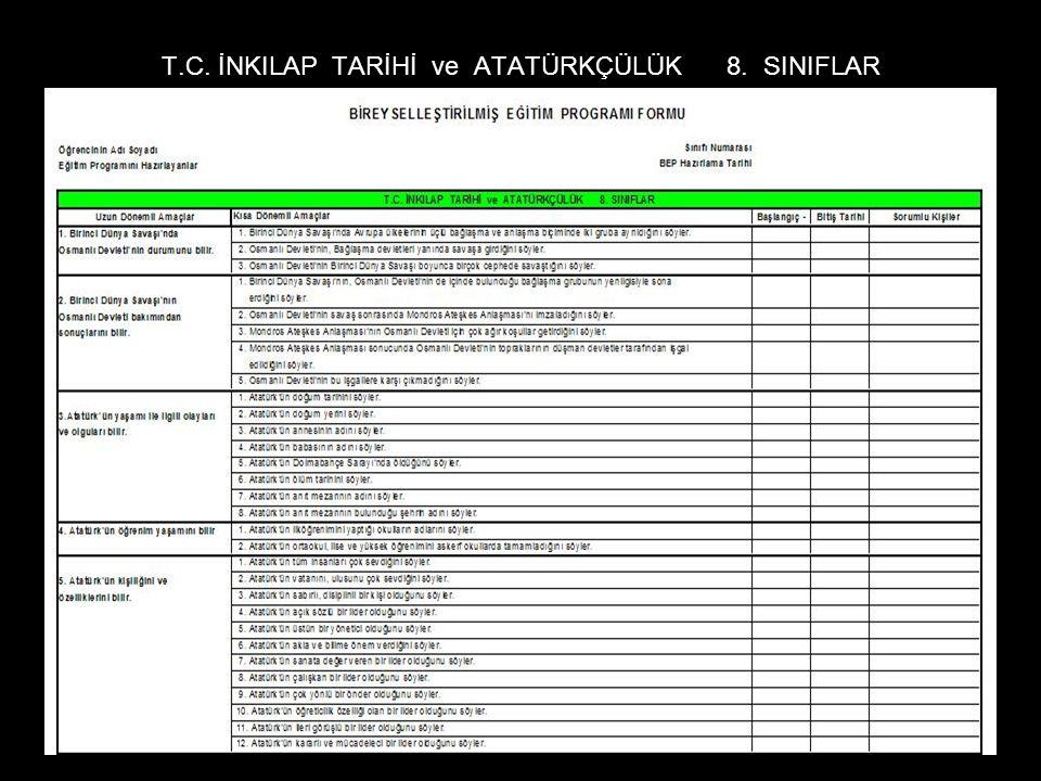 T.C. İNKILAP TARİHİ ve ATATÜRKÇÜLÜK 8. SINIFLAR