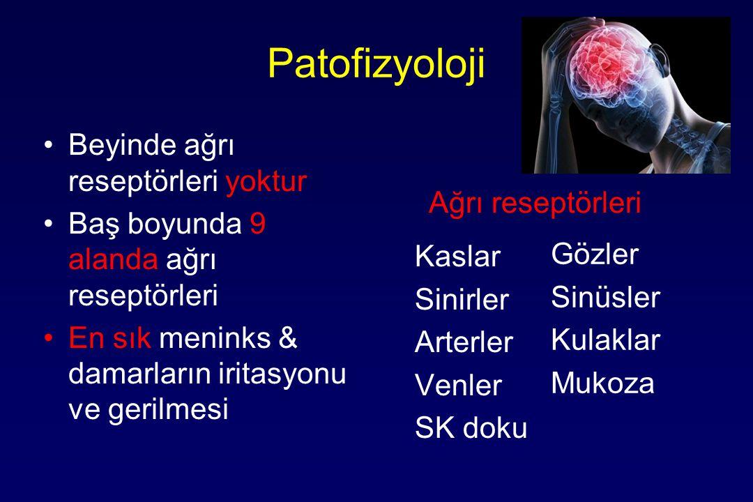 Patofizyoloji Ağrı reseptörleri Beyinde ağrı reseptörleri yoktur Baş boyunda 9 alanda ağrı reseptörleri En sık meninks & damarların iritasyonu ve gerilmesi Gözler Sinüsler Kulaklar Mukoza Kaslar Sinirler Arterler Venler SK doku