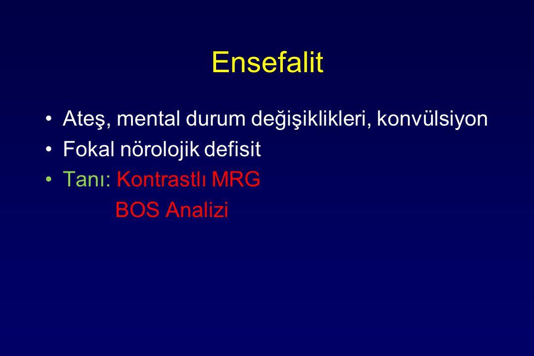 Ensefalit Ateş, mental durum değişiklikleri, konvülsiyon Fokal nörolojik defisit Tanı: Kontrastlı MRG BOS Analizi