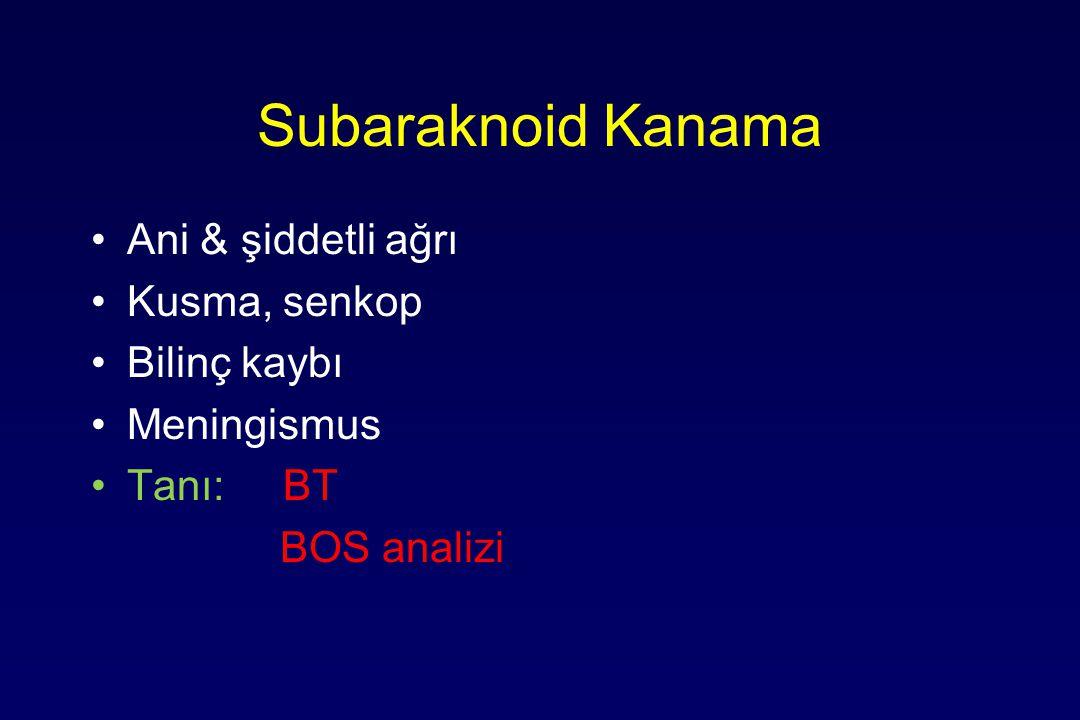 Subaraknoid Kanama Ani & şiddetli ağrı Kusma, senkop Bilinç kaybı Meningismus Tanı: BT BOS analizi