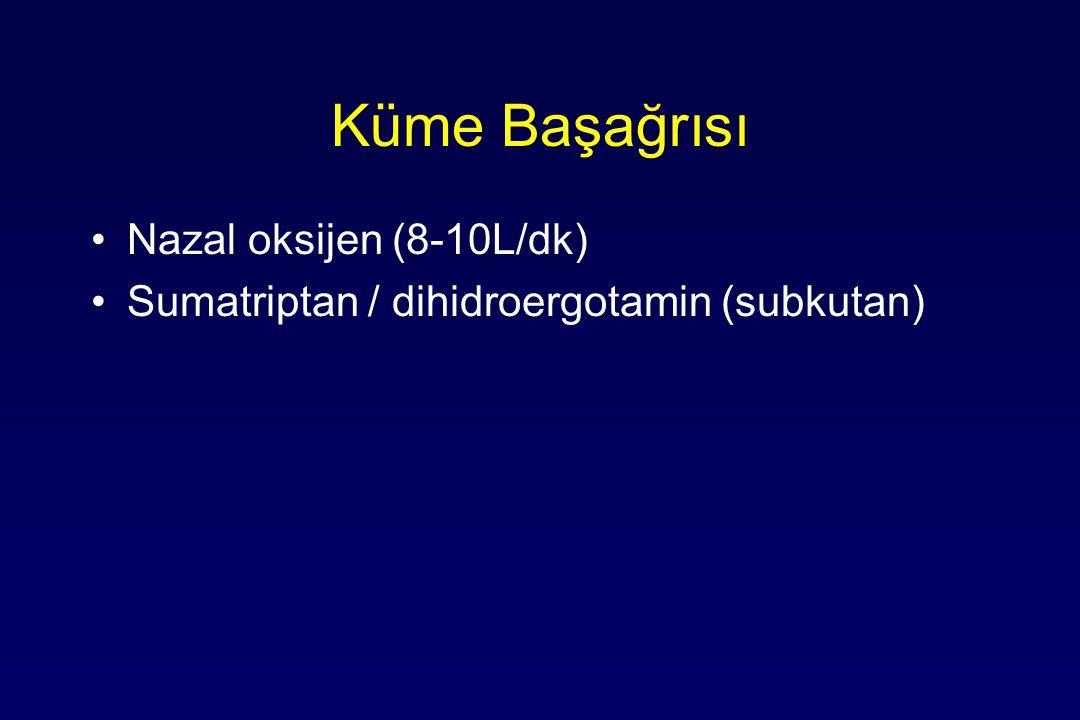 Küme Başağrısı Nazal oksijen (8-10L/dk) Sumatriptan / dihidroergotamin (subkutan)
