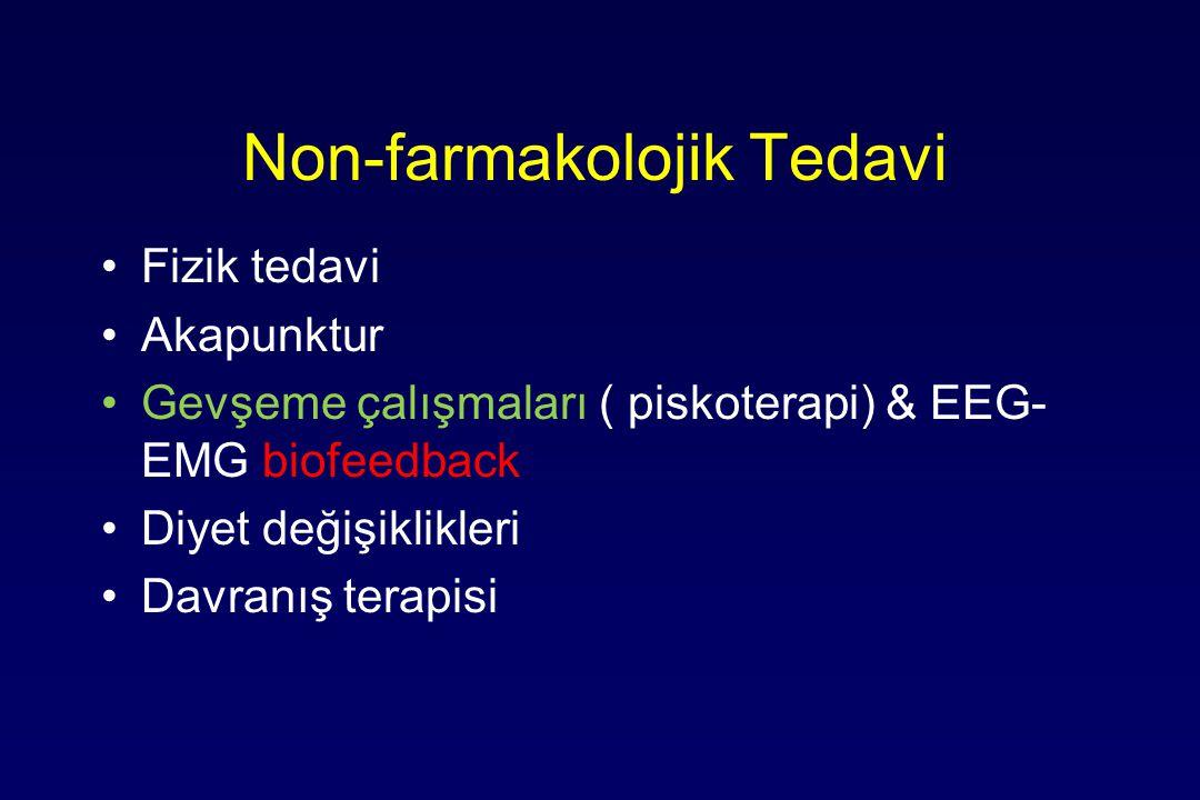 Non-farmakolojik Tedavi Fizik tedavi Akapunktur Gevşeme çalışmaları ( piskoterapi) & EEG- EMG biofeedback Diyet değişiklikleri Davranış terapisi