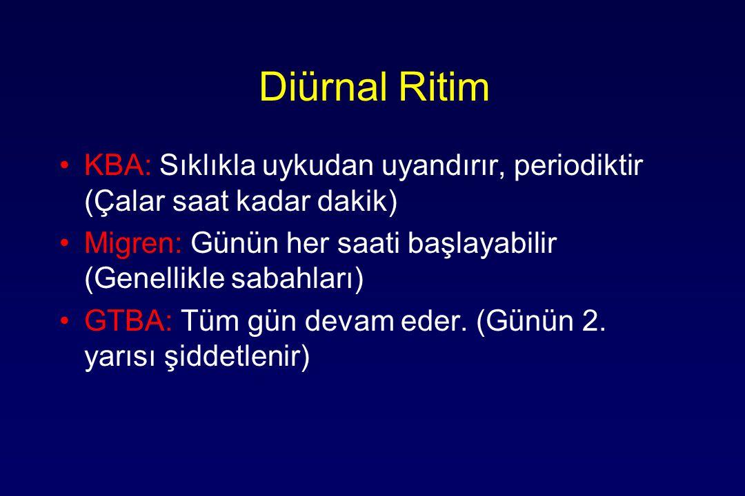 Diürnal Ritim KBA: Sıklıkla uykudan uyandırır, periodiktir (Çalar saat kadar dakik) Migren: Günün her saati başlayabilir (Genellikle sabahları) GTBA: Tüm gün devam eder.