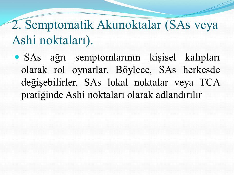 2. Semptomatik Akunoktalar (SAs veya Ashi noktaları). SAs ağrı semptomlarının kişisel kalıpları olarak rol oynarlar. Böylece, SAs herkesde değişebilir