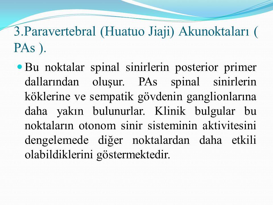 3.Paravertebral (Huatuo Jiaji) Akunoktaları ( PAs ). Bu noktalar spinal sinirlerin posterior primer dallarından oluşur. PAs spinal sinirlerin köklerin