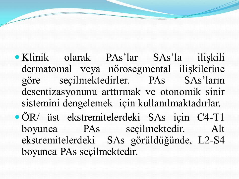 Klinik olarak PAs'lar SAs'la ilişkili dermatomal veya nörosegmental ilişkilerine göre seçilmektedirler. PAs SAs'ların desentizasyonunu arttırmak ve ot