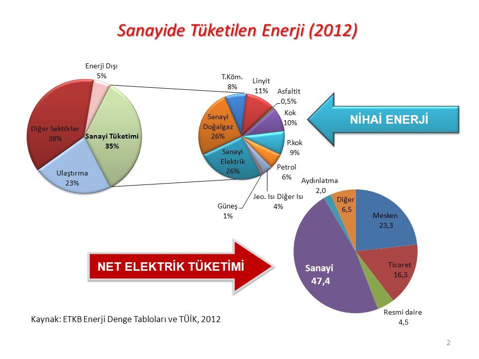 Sanayide Tüketilen Enerji (2012) NET ELEKTRİK TÜKETİMİ NİHAİ ENERJİ Kaynak: ETKB Enerji Denge Tabloları ve TÜİK, 2012 2
