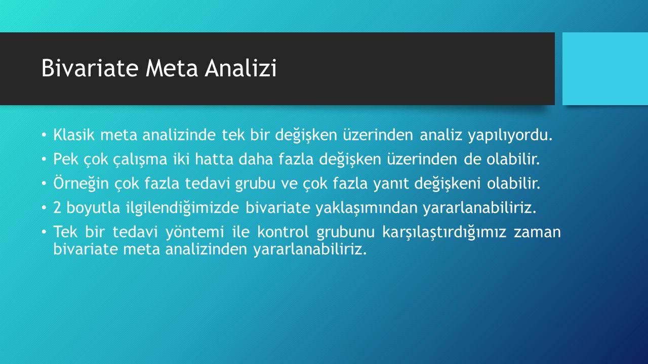 Bivariate Meta Analizi Klasik meta analizinde tek bir değişken üzerinden analiz yapılıyordu. Pek çok çalışma iki hatta daha fazla değişken üzerinden d