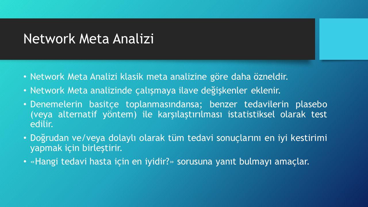 Network Meta Analizi Network Meta Analizi klasik meta analizine göre daha özneldir. Network Meta analizinde çalışmaya ilave değişkenler eklenir. Denem