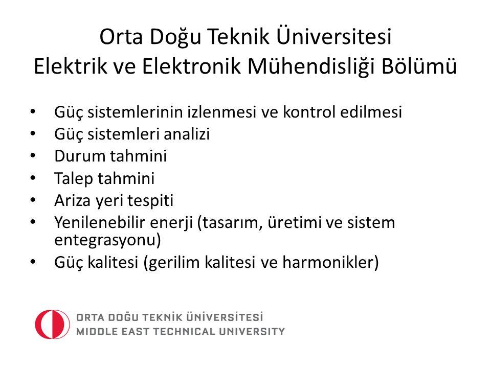 Orta Doğu Teknik Üniversitesi Elektrik ve Elektronik Mühendisliği Bölümü Güç sistemlerinin izlenmesi ve kontrol edilmesi Güç sistemleri analizi Durum