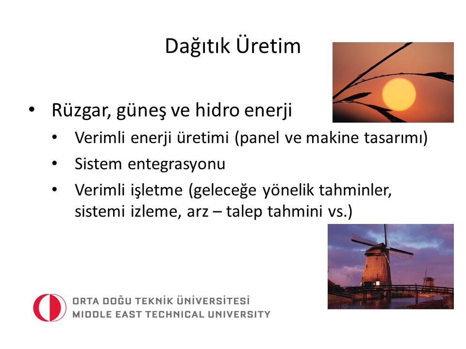 Dağıtık Üretim Rüzgar, güneş ve hidro enerji Verimli enerji üretimi (panel ve makine tasarımı) Sistem entegrasyonu Verimli işletme (geleceğe yönelik t