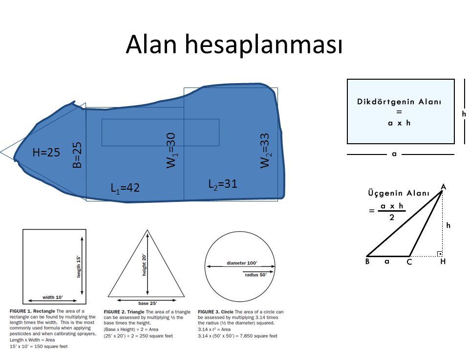 Alan hesaplanması H=25 B=25 L 1 =42 L 2 =31W 1 =30W 2 =33
