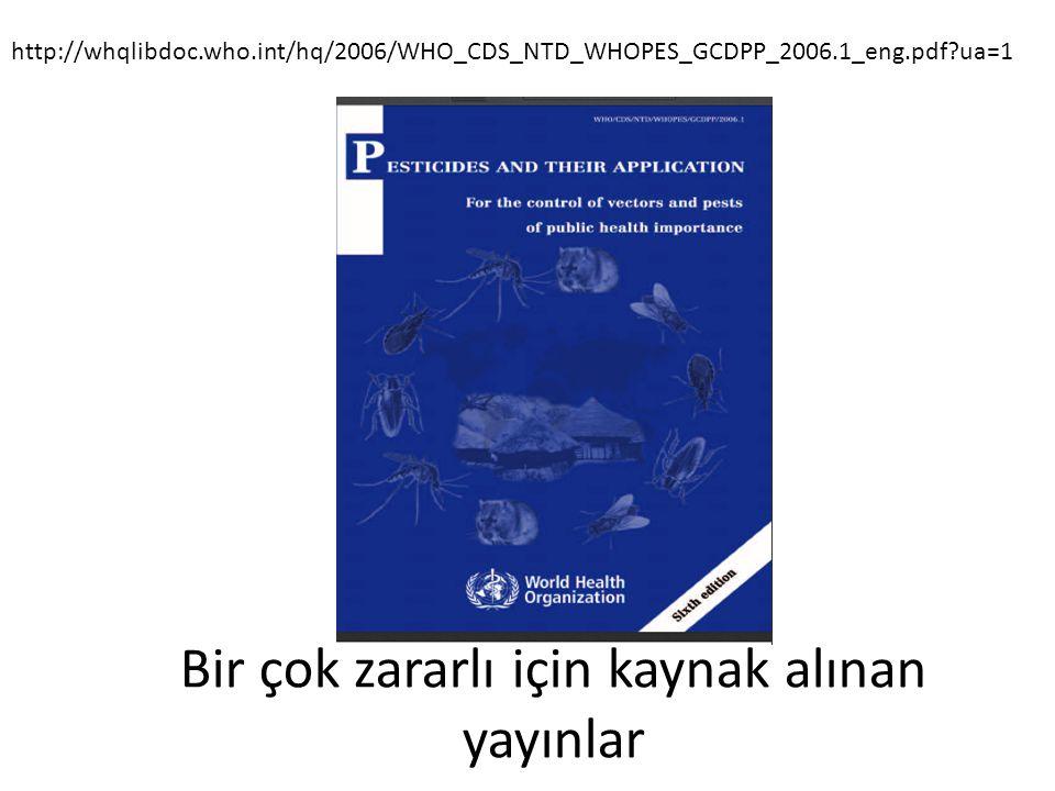 Bir çok zararlı için kaynak alınan yayınlar http://whqlibdoc.who.int/hq/2006/WHO_CDS_NTD_WHOPES_GCDPP_2006.1_eng.pdf?ua=1