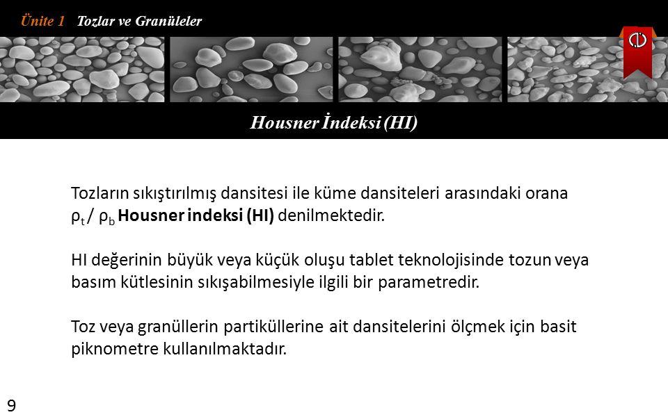 Ünite 1 Tozlar ve Granüleler Housner İndeksi (HI) 9 Tozların sıkıştırılmış dansitesi ile küme dansiteleri arasındaki orana ρ t / ρ b Housner indeksi (HI) denilmektedir.