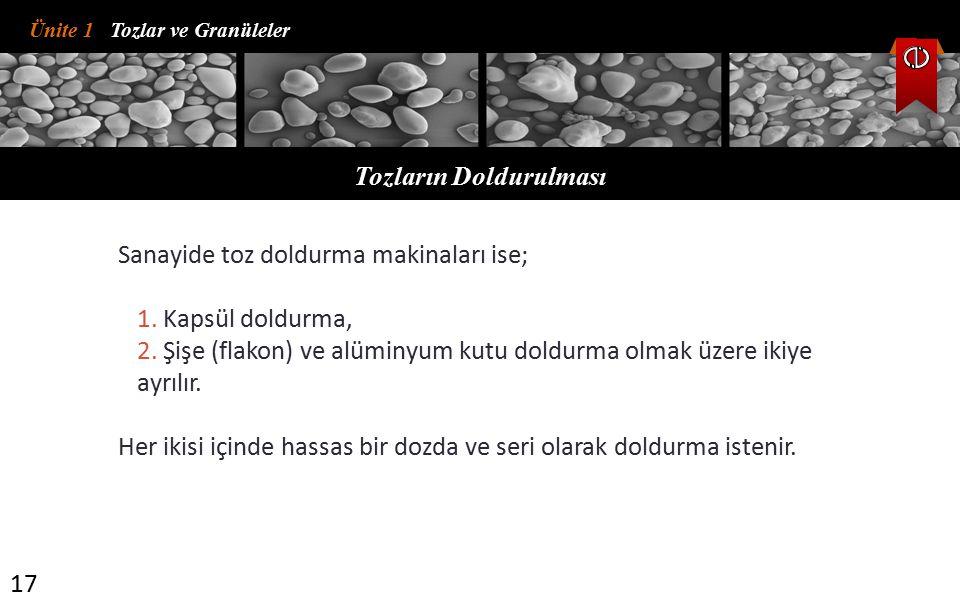 Ünite 1 Tozlar ve Granüleler Tozların Doldurulması 17 Sanayide toz doldurma makinaları ise; 1.