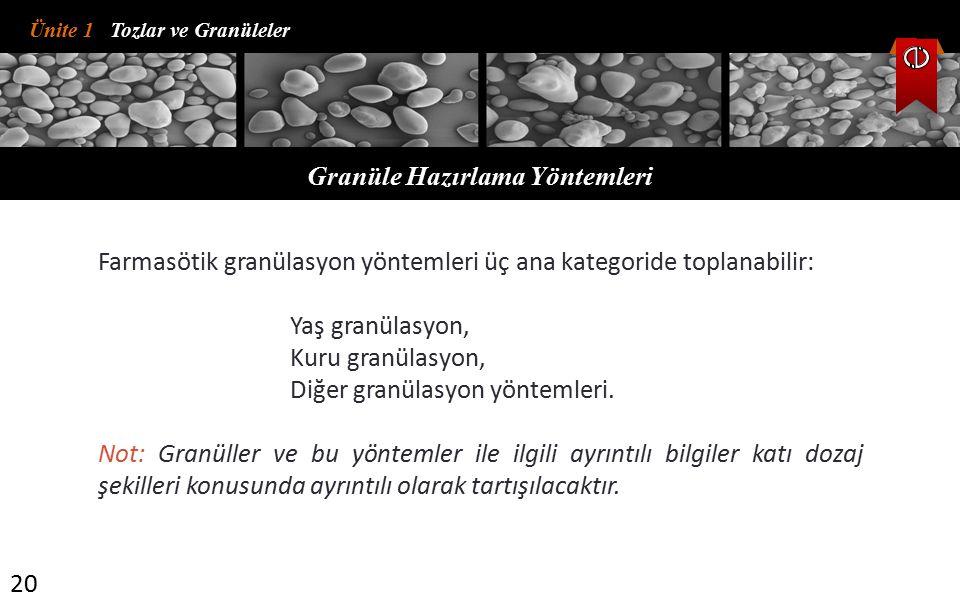 Ünite 1 Tozlar ve Granüleler Granüle Hazırlama Yöntemleri 20 Farmasötik granülasyon yöntemleri üç ana kategoride toplanabilir: Yaş granülasyon, Kuru g