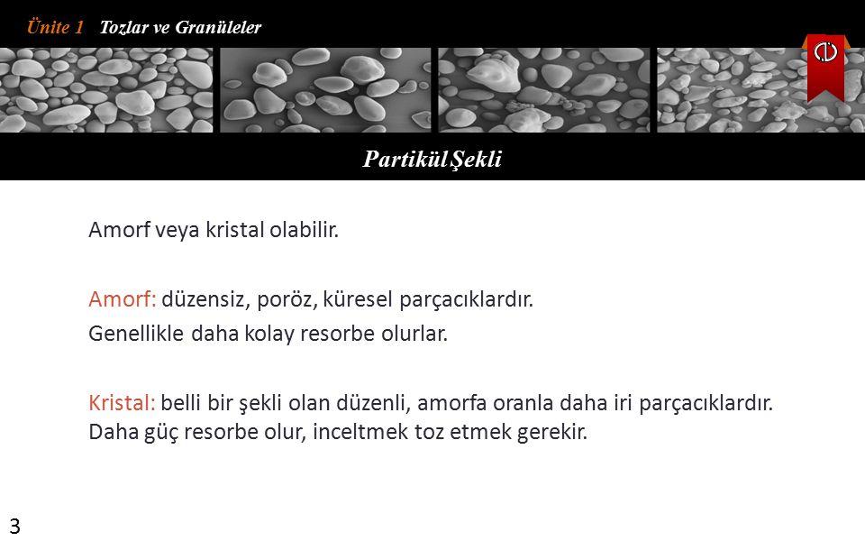 Ünite 1 Tozlar ve Granüleler Partikül Şekli 3 Amorf veya kristal olabilir. Amorf: düzensiz, poröz, küresel parçacıklardır. Genellikle daha kolay resor